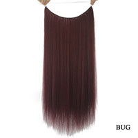 Wholesale Pure Fishing - 24'' Long Synthetic Hair Heat Resistance Fiber Fish Line Halo Invisible Straight Brown Gray Hair Extensions Hairpieces