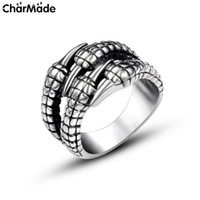 Wholesale Gothic Dragon Jewelry - Antique Style Stainless Steel Gothic Dragon claw Mens Ring Women Biker Jewelry Accessories Size 7 to 12 8 9 10 11 R727