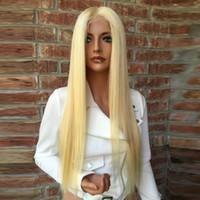 beyaz sarışın insan saç perukları toptan satış-Tam Dantel İnsan Saç Peruk Hafif Sarışın 613 Perulu Saç Düz Gluless Dantel Ön İnsan Saç Peruk Siyah / Beyaz Kadınlar için