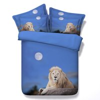Wholesale Lion King Sheets Full - Blue Lion Animal 3D Printed Bedding Sets Twin Full Queen King Size Bedspread Bedclothes Duvet Covers Bed Sheet for Adult Boy's Bedroom Decor