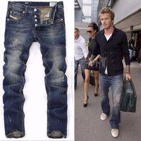 Wholesale Long Skinny Jeans For Men - High Quanlity 2016 men famous brand blue denim designer high quality ripped jeans for men classic retro David Beckham