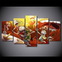 Wholesale Funny Pictures Frames - 5 Pcs Set Framed Printed Rick And Morty Funny Comic Home Wall Decor Canvas Picture Art HD Print Painting Artworks