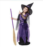 Wholesale Holloween Clothing - Girl Witch dress sets Holloween Cosplay costume two-piece sets hat+dress Sorceress clothing for girls new years christmas performance EMSDHL