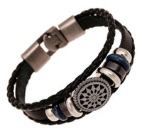 Wholesale Men Bracelet Silver Engraved - Handmade braided charm Genuine Leather bracelet men fashion vintage engraved bracelets bangles korean jewelry
