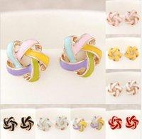 Wholesale Scarves Studs - Fashion Ladies Elegant Gold Plated Enamel Earrings Flower Ear Stud Earrings Hot roxi jewelry scarf rose earrings