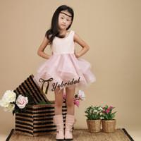 Wholesale Children Sequin Ruffled Shorts - Light Pink Short Girls Pageant Dresses Tulle Sequins Jewel Neck Backless Ball Gown Flower Girls Dresses Cheap Kids Children Fast Shipping
