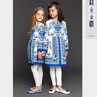 Wholesale Monsoon Children - 2016 New Autumn Wl monsoon Dresses Girls Blue and White jacquard Flower Long-sleeved Dresses Children High Grade Cotton Dresses
