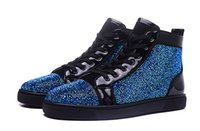 Wholesale Crystal Lace Shoes - New 2016 mens and womens crystal blue rhinestone with black genuine leather high top red bottom sneakers,designer causal sports shoes 36-46