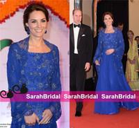 ingrosso abito blu lungo di kate middleton-Abiti celebrità Kate Middleton India Abiti 2019 Royal Blue Manica lunga perline ricamo Perline Chiffon Abiti da sera per la madre della sposa