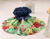 Wholesale Denim Splicing Chiffon Dress - New 2016 Girls fashion denim Splice chiffon floral dress Children princess dress ,5pcs lot