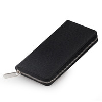 Wholesale Long Purse Zipper - hot sale fashion desinger leather purse Men genuine leather wallet large zip around long clutch wallet