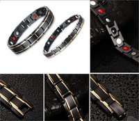 Wholesale Eastern Element - Titanium Magnetic Therapy Bracelet Element Magnets Relief for Arthritis Pain Charms Wristband Gold Black Lover's Magnetic Bracelet B806S
