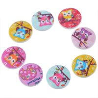 """Wholesale Wooden Owl Buttons - 2016 Random Mixed Cartoon Owl Round Wooden Buttons 2 Hole Sewing Scrapbooking DIY Sewing Craft Scrapbooking 15mm(0.59"""") Pack Of 50pcs I331L"""