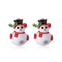 Wholesale snowman bells - The Girls Ear Stud Earrings Christmas Earrings Santa Snowman Christmas Tree Bell Earring Stud Earrings Holiday Gifts for Womens