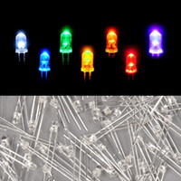 Gros-100 pcs / lot 7COULEURS conduit 3mm chapeau de paille leds blanches Light Emitting Diodes Water Clear ultra lumineux grand angle LED Low Power 68