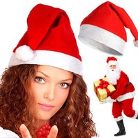 Wholesale Santa Claus Christmas Cap - Fashion Nonwovens Christmas Caps Christmas Santa Claus Hats Christmas Gifts Decoration Cheapest christmas santa claus cap