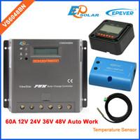 medidor de caixa de bateria venda por atacado-Solar PWM controlador EPEVER VS6048BN 60A 60amp carga da bateria wi-fi BOX sensor de cabo MT50 medidor de 12 v / 24 v / 36 v / 48