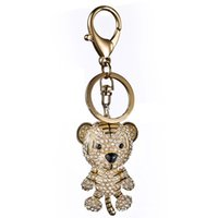 Wholesale Tiger Ornaments Gifts - Tiger Crystal Rhinestone Charm Pendant Key Bag Chain Fob Rings Gift Keychains Keyrings Bijouterie Trinket Ornament Accessories