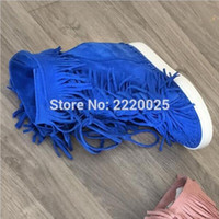 Wholesale Green Wedge Boots Women - Blue Suede Tassel Ankle Boots Height Increasing Wedge Fringed Lace Up Bootie 2016 Fashion Design Women Shoes