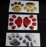 Wholesale dog bumpers - 10 sheets Hot Sale 3D Car Window Bumper Body Decal Sticker Bear Dog Animal Paw Foot Prints Pattern Sticker Gold Silver Red Tone