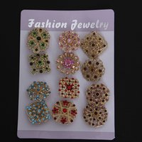 Wholesale Cheapest 14k - (12 pieces lot) Cheapest Fashion Women Accessories Flower Shape Rhinestone Brooch Gold or Silver Plated Crystal Collar hijab pins Brooches