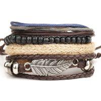 ingrosso uomini del braccialetto della piuma-Perle di bracciale con perline in piuma punk + Bracciale in pelle intrecciata a corda a più strati per gioielli da uomo pulseira couro come regalo