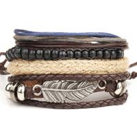 gewebte lederarmbänder perlen großhandel-Punk Feather Charms Armband Perlen + Multilayer Leder Seil Woven Wrap Armband für Männer Statement Schmuck Pulseira couro als Geschenk