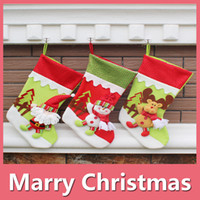 Wholesale Socks Child Decoration - Hot Christmas Gifts For Children Christmas Stockings Socks Decoration Cute Candy Bag Socks Christmas Tree Ornaments Decorations Party Decora