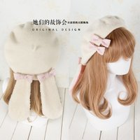 Wholesale Lady Rabbit Costume - Wholesale-1pc Cute Lolita Girls White Rabbit Beret Hat Bow Harajuku Style Lady Hat New Kawaii