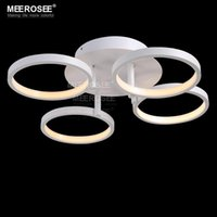 Wholesale Led Color Flush Mount - LED Acrylic Ceiling Flush Mounted light fixture 4 Rings White color Surface ceiling lustre for Bedroom Living room fast shipping