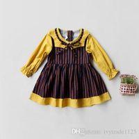 Wholesale Girls Stripped Tutu Dress - Ins Euro Fashion Girl Lolita Dress pet pan collar long sleeve stripped patchwork dress Autumn girl dress elegant simple style 100% Cotton