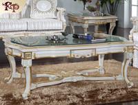 ingrosso mobili di soggiorno di lusso-Luxury Royalty living furniture -Tavolino francese con piano in vetro -Tavolo rettangolare italiano
