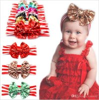 Wholesale Striped Headbands - New Baby girls headbands Big Bows Kids sequined bowknot Hairbands Children Striped cotton headbands Hair Accessories Chirstmas Gift KHA278