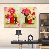 pintura abstrata de bambu venda por atacado-Unframed 2 peças frete grátis art imagem cópias da lona pintura a óleo abstrata em vaso flor crisântemo bambu café limão álamo árvore