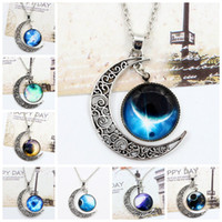Wholesale Children Vintage Necklace - Vintage Moon Necklace High Quality Starry Moon Gemstone Pendants Necklaces Jewelry Children Accessories Bjd Nerf Xmas Gift