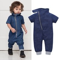 Wholesale Toddler Boy Denim Overalls - Baby Boy Fashion Denim Romper Short Sleeves Overall Jumpsuit Solid Color Bodysuit for Toddler Boys High Quality Cheap Kids Clothes