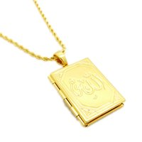 Wholesale Stereo Chain Necklace - Muslim Stereo 18k Yellow Gold Filled Cuboid Pendant Necklace Rope Chain For Menens Pendant With Chain
