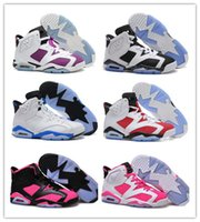 Wholesale Silver Fur Boots - VI Retro Basketball Shoes White Infrared 23 athletic shoes Women retro 6 CARMINE sports shoes Basketball Boots Men Athletics Discount