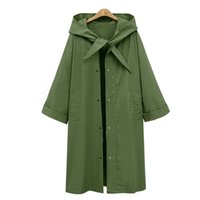Wholesale Winter Coat Styles Women - 2017 autumn and winter European and American new style long, pure color hooded hooded trench coat