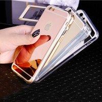 Wholesale Electroplated Chrome Iphone Case - Luxury Mirror Electroplating Chrome Soft TPU Gel Case Cover For iPhone 5 5S 6 6S 7 Plus Samsung Galaxy S6 S7 Edge S8 Note5 Grand Prime G530