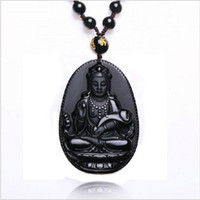 Wholesale Vintage Fine China - Natural Obsidian Necklace Fashion Black Ruyi Guan Yin Pendant For Women Men Vintage Fine Jade Jewelry Ornaments 55*35mm