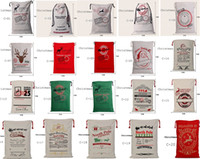 Wholesale Wholesale Printed Canvas - 2017 new popular Christmas Large Canvas Bags 20styles for choose Santa Claus Drawstring Bags With Reindeers cotton Christmas Gift Sack Bags