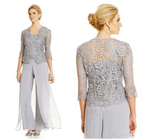Wholesale Garment Jackets - Silver Plus Size Mother Of Bride Pant Suit With Lace Jacket Chiffon Formal Mothers Outfit Special Occasion Mother's Garment