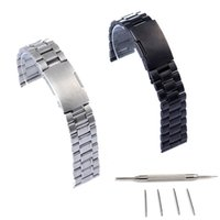 Wholesale Watch Tool Strap Replace - Wholesale-22mm Black Silver Stainless Steel Watch Strap Band For Pebble Time Smart Watch+Tool Replace Watchband Accessory
