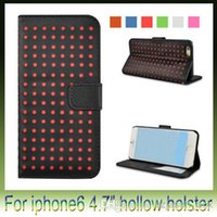 Wholesale Iphone Polka Wallet - For iPhone 6 Wallet Style Soft Hollow polka dot PU Leather Stand Case Bag Cover With Card Holders for iphone6 4.7 inch