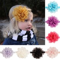 Wholesale Soft Band For Hair - 16 Pcs lot New Fashion Handmade Soft Chiffon Flower Headband for Baby Girls Boutique Fabric Hair Band Kids Hair Accessories