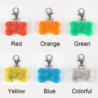 Wholesale cartoon bells - 10pcs lot Cute Bone Style Safety Red Flashing LED Light Pet Dog Collar Pendant Charms
