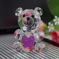 Wholesale Glass Christmas Ornaments Crafts - Crystal Glass Animals Bear miniature figurines Feng shui Miniatures Desk Ornaments Christmas nativity figurines Crafts