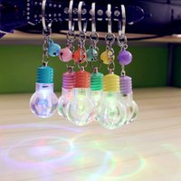 Wholesale Led Flashing Key Chain - Christmas gift Mini led colorful flash bulb key chain dazzle colour light bulb key chain creative gifts