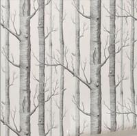 huş ağacı toptan satış-Huş Ağacı desen dokunmamış woods duvar kağıdı rulo modern tasarımcı wallcovering oturma odası için basit siyah ve beyaz duvar kağıdı